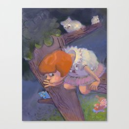 Two Little Girls and the Owl Playing Hide and Seek Canvas Print