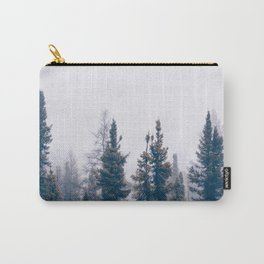 Minimalist Landscape Photo Pine Tree Silhouette Misty Forest Carry-All Pouch