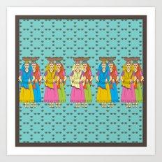 Indian Village Girls Art Print