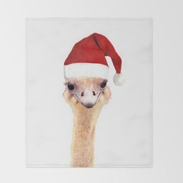 Ostrich Christmas Throw Blanket