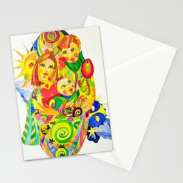 The Family, illustration made by Ines Zgonc Stationery Cards