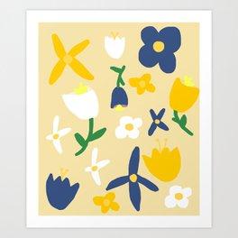 Yellow and Blue Daisy May Pattern Art Print