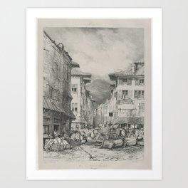 Eugene Isabey, (French, Paris 1803–1886 Lagny), Rue de Gros in Clermont Art Print