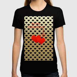 Two red hearts in tandem on black hearts pattern T-shirt