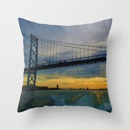 The Ambassador Bridge connects Detroit USA, & Windsor CA Throw Pillow