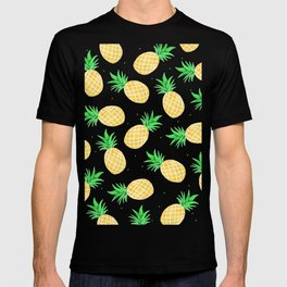 Modern summer watercolor orange green pineapples pattern T-shirt
