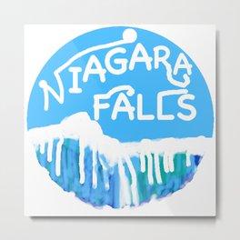 Niagara Falls Circle Metal Print