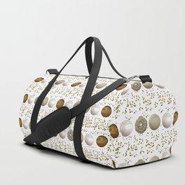 Modern white faux gold sequins geometrical dots stripes Duffle Bag