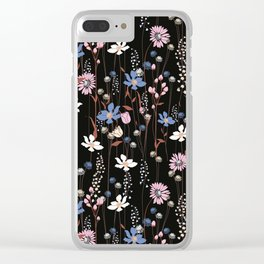 Darkly Beautiful Wildflower Floral Pattern Clear iPhone Case