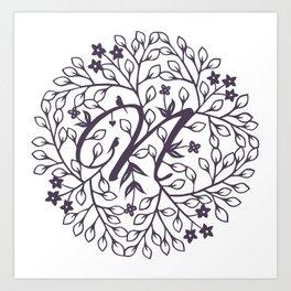 N - monogrammed initial N print Art Print