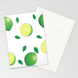 Falling Fruit Lime Summer Citrus with Leaf half lime slice lemon green pattern Stationery Cards