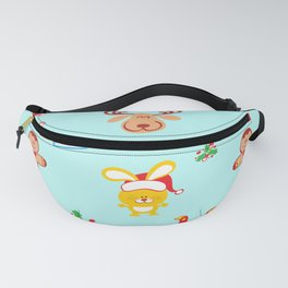 Cute Santa Claus, reindeer, bunny and cookie man Christmas pattern Fanny Pack