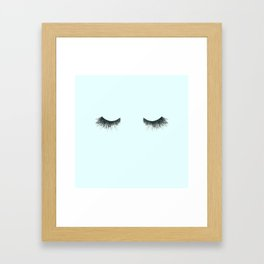 Dramatic dreaming in blue  \\ lashes, closed eyes, sleeping design for bedroom Framed Art Print