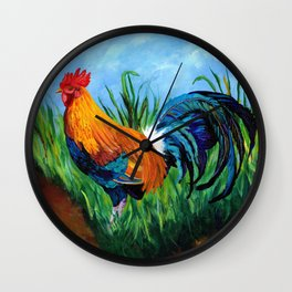 Sugar Cane Rooster Wall Clock