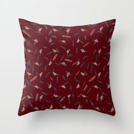 Primitive Birds and Leaves Pattern on Warm Crimson Color Throw Pillow