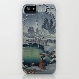 Winter at Kanto, Ukiyo-e iPhone Case