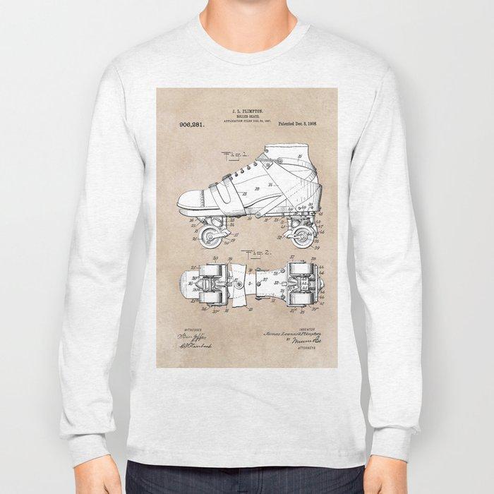 patent art Plimpton Roller Skate 1907 Long Sleeve T-shirt