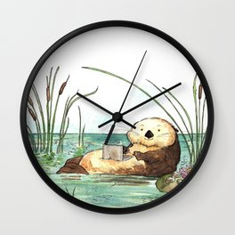 Otter on a Laptop Wall Clock