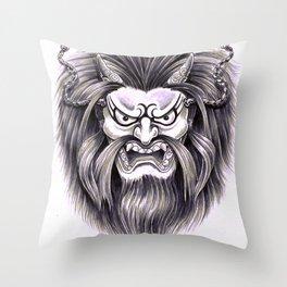 Japanese Hanya Mask Throw Pillow