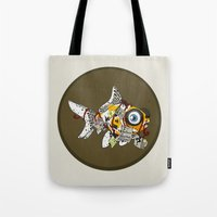 wes anderson Tote Bags featuring Goldfish Anderson by WhoGroovesOn