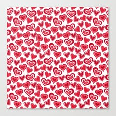 MESSY HEARTS: RED Canvas Print