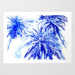 Blue Palm Trees beach california beach design aquatic beach blue design beach house Art Print