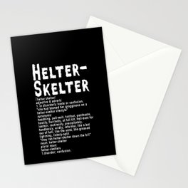 Helter Skelter (white on black) Stationery Cards