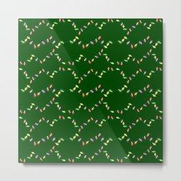 Festive Christmas Lights on Green Metal Print