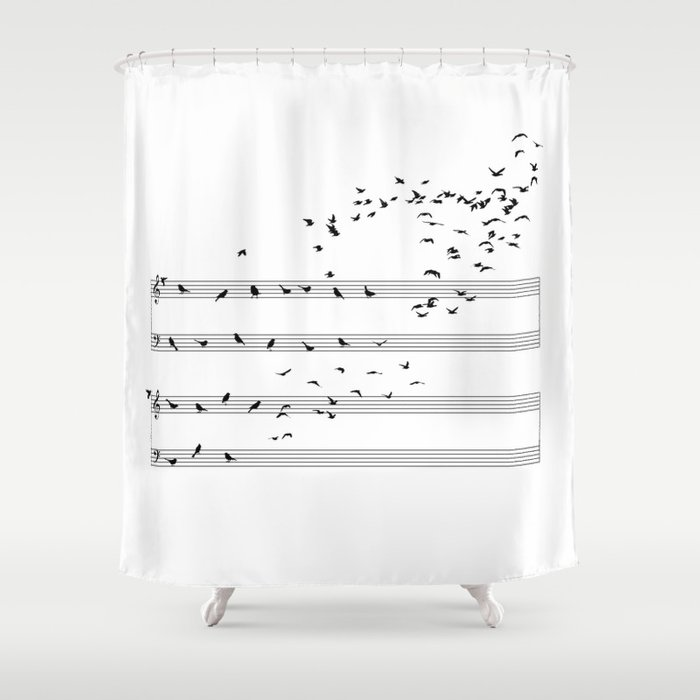 Natural Musical Notes Shower Curtain By Sokolselmani