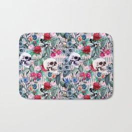 Flowers and Skulls (Pink) Bath Mat