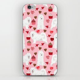 Samoyed valentines day dog portrait cute puppy dogs hearts love valentine for dog person iPhone Skin