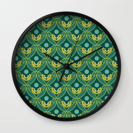 Stylized Lotus in Blue, Green and Gold Wall Clock