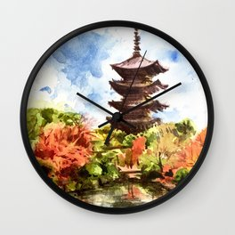 Kyoto Japanese Garden and Temple Wall Clock
