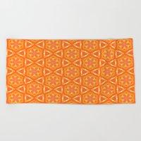 Orange and Yellow Stars and Hearts 9055 Beach Towel