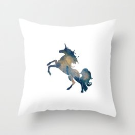 Starry Unicorn in Blue Throw Pillow
