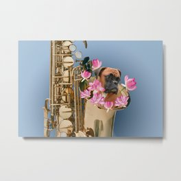 Saxophone Boxer with Lotos Flower Blossoms Metal Print
