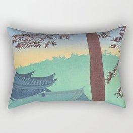 Asano Takeji Japanese Woodblock Print Vintage Mid Century Art Teal Turquoise Sunrise Shrine Rectangular Pillow