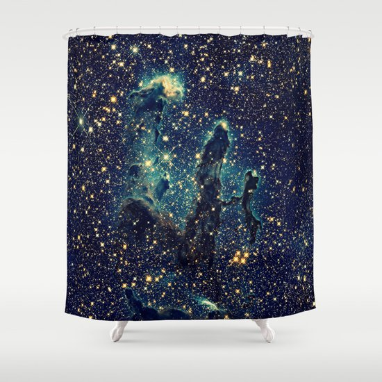 GalaxY Teal Blue Amp Gold Shower Curtain By 2sweet4words