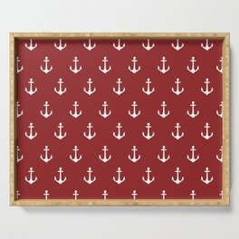 Maritime Nautical Red and White Anchor Pattern - Medium Size Anchors Serving Tray