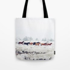 Winter Horse Herd Tote Bag