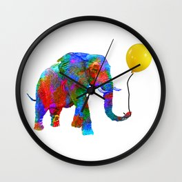 Crayon Colored Elephant with Yellow Balloon Wall Clock