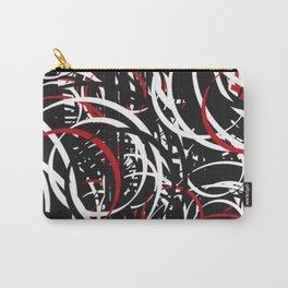 Black Red and White Bold Circle Design Abstract Carry-All Pouch