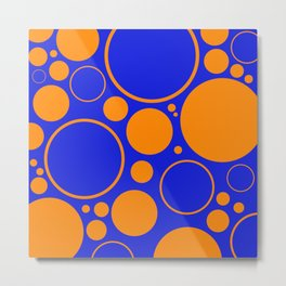 Bubbles And Rings In Orange And Blue Metal Print