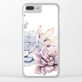 Pristine Succulents Blue and Pink Clear iPhone Case