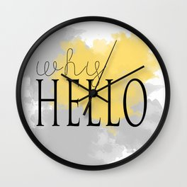 Why hello typography watercolor art Wall Clock