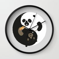 buddhism Wall Clocks featuring Yin-Yank by Wharton