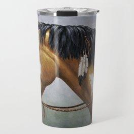Native American Buckskin Pinto War Horse Travel Mug