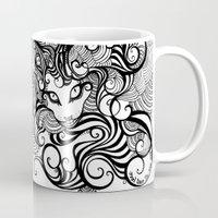 cheshire cat Mugs featuring cheshire cat by vasodelirium