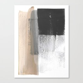Beige and Grey Colorblock Textured Abstract Painting Canvas Print