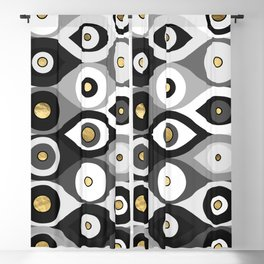 Evil Eye protection pattern grayscale and gold Blackout Curtain